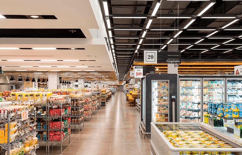 iluminação de supermercado